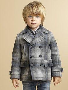 Armani Junior - Toddler's & Little Boy's Plaid Peacoat & Interior Vest