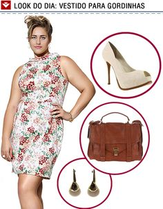 """O """"Look do dia"""" de hoje é uma dica para as gordinhas!  Vestido estampado com dicas de acessórios para arrasar nesse verão!!"""
