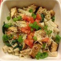 Creamy Spinach, Mushroom & Chicken Pasta - This Gal Cooks