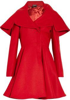 Red Wool Cape Coat / Alexander Mcqueen