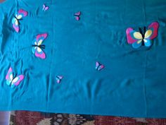 Embroidered Flying #Butterflies on Pure Soft 100% #Pashmina  turquoise #shawl . #oumniamaktabi #design
