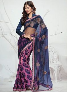 Pink And Blue Half And Half Saree