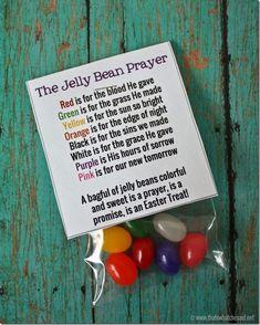 Jelly Bean Prayer Printable LINK: http://www.thatswhatchesaid.net/2014/jelly-bean-prayer-free-printable/