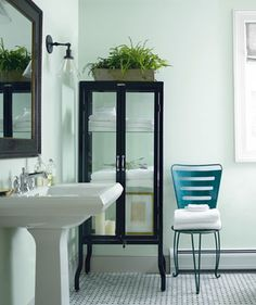 Look at the paint color combination I created with Benjamin Moore. Via Wall: Italian Ice Green Trim: Marilyn's Dress Chair: Teal Ocean Decor, Color Combinations Paint, Exterior Stain, Interior, Best Bathroom Paint Colors, Vintage Bathroom, Soothing Paint Colors, Painting Bathroom, Earthy Bathroom