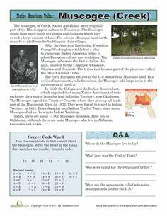 Worksheets: Native American Tribes: Muscogee Native American Tribes, Native American History, American Indians, American Symbols, American History Lessons, History For Kids, Family History, American Heritage Girls, American Women