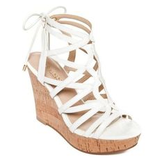 Guess White Huyana3 Cork Wedge Sandals Women's ❤ liked on Polyvore featuring shoes, sandals, white sandals, wedges shoes, guess shoes, wedge sandals and wedge heel shoes