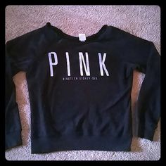 Victorias secret PINK  sweatshirt Very cozy and soft sweatshirt  from victorias secret. Has a wider scoop  neck to also wear off the shoulder! Good condition with no holes and  no stains Victoria's Secret Sweaters