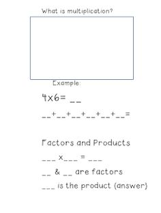 Teaching With Class. Formerly MissThirdGrade.com: What is Multiplication? Math Notebook Entry