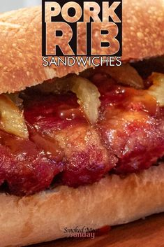 Smoked McRib Sandwich Recipe - BBQ pork rib sandwiches - smoked low and slow, and then placed on a sourdough roll. This is a simple pellet grill recipe. Tender smoked ribs - pickled onions - #traegergrills #traegerrecipes #traeger #smokedmeats #bbqrecipes