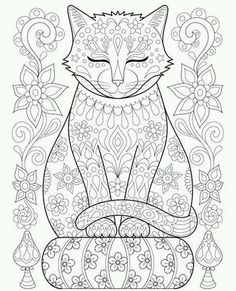 Zen Cat Coloring Poster - Colorable Cat Art Poster - black and white style stylish cool unique customize cyo Free Adult Coloring Pages, Cat Coloring Page, Animal Coloring Pages, Coloring Book Pages, Printable Coloring Pages, Coloring Sheets, Art Doodle, Cat Colors, Adult Coloring Pages