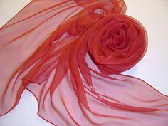 Seidenschal 180x55cm rot Chiffonschal Stola von Textilkreativhof auf DaWanda.com