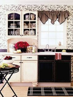 add bead-board backsplash and different paint to make built in cabinet look like free-standing hutch