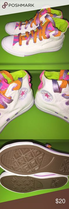 Girls Converse All Star shoes size 1...CUTE!!!! This is a pair girls Converse All Star shoes size 1. They are new without tags. If you have any questions please let me know. Thanks. Converse Shoes Sneakers