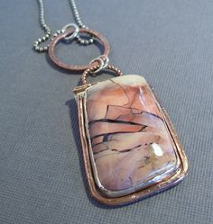Tiffany Stone Pendant with Sterling and Copper  by steph1068, $180.00