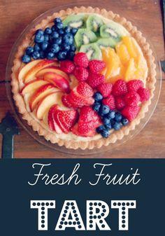 Ina Garten's Fresh Fruit Tart | Rainbow Delicious. I think I would use yogurt and grahamcracker pie crust.