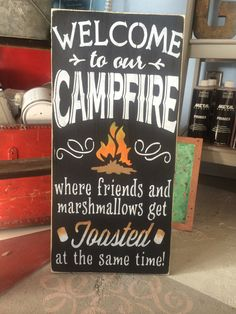 Welcome to our campfire porch sign campfire by CharlieBsDesigns, $45.00
