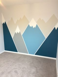 Mountain mural painted in baby's nursery. Mountain mural painted in baby's nursery. Mountain mural painted in baby's nursery. Mountain mural painted in baby's nursery. Boys Bedroom Paint, Bedroom Murals, Baby Bedroom, Baby Boy Rooms, Baby Room Decor, Boys Room Paint Ideas, Playroom Paint Colors, Boys Room Colors, Nursery Boy