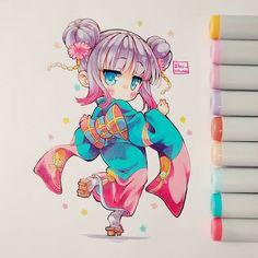 Y vuelvo más Loli y kawaii(?) Kanna again el kimono que usó en el capítulo pasado para año nuevo. Es tan bueno ese anime, todos los capítulos son buenos, ninguno me ha parecido aburrido #kobayashisanchinomaiddragon #kannakamui #loli #kawaii #moe #cute #chibi #kimono #traditional #copic #copicmarker #instadraw #instaanime #instaart