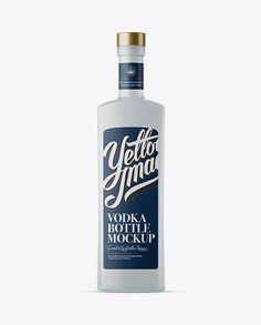 500ml Square Frosted Glass Vodka Bottle Mockup