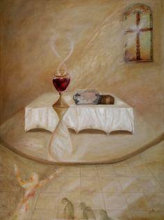 Mecseri Art: Communion, oil painting by Ildikó Mecséri (MEIL) Lords Supper, Christian Art, Oil Painting On Canvas, Communion, Paintings, Contemporary, Painting Art, Painting, Paint