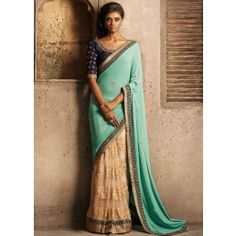 Sea Green and Beige Saree