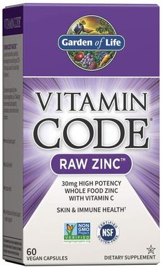 Garden of Life Vitamin Code Raw Zinc, 30mg Whole Food Zinc Supplement + Vitamin C, Trace Minerals & Probiotics for Immune Support, Certified Vegan... Best Zinc Supplement, Zinc Capsules, Zinc Benefits, Garden Of Life Vitamins, Zinc Supplements, Organic Fruits And Vegetables, Daily Vitamins, Vitamin C, Health