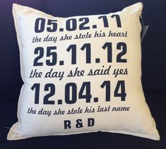 Gorgeous personalised 'special date' pillows are the ultimate wedding gift, engagement gift or bridal shower gift for the perfect keepsake.. on Etsy, $40.00 AUD