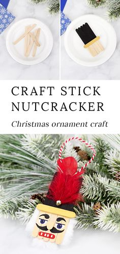 Fun Holiday Keepsake Christmas is the perfect holiday for nutcracker decorations! Made with craft sticks paint and basic craft supplies this easy and fun wooden popsicle stick nutcracker ornament is a fun holiday keepsake for kids and adults to make. Popsicle Stick Christmas Crafts, Christmas Crafts For Toddlers, Christmas Ornament Crafts, Craft Stick Crafts, Diy Christmas Gifts, Holiday Crafts, Craft Sticks, Diy And Crafts, White Christmas