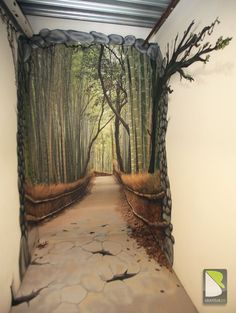 Cool hand painted mural creating an illusion of a bamboo lined path at the end of a hallway. Cool hand painted mural creating an illusion of a bamboo lined path at the end of a hallway. Plan Wallpaper, Wallpaper Ideas, Closet Wallpaper, Bamboo Wallpaper, Tree Wallpaper, Nature Wallpaper, Mural Art, Wall Art, 3d Wall Painting