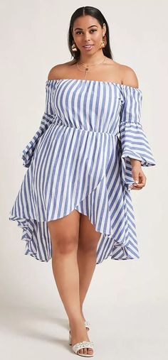 Plus Size High-Low Striped Dress