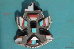Vintage 1930s Zuni Sterling Silver Knifewing War God Turquoise Inlay Pin Brooch.