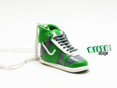 Long necklace sneaker shoe green and grey handmade by RiitaDesign, €29.90