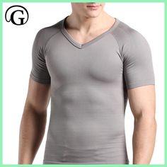 PRAYGER Men Male body shaper slimming seamless gynecomastia shapewear short sleeve shirt tops abdomen belly control undershirt