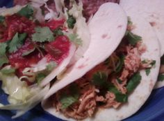 """Amazing """"Date Night"""" Chicken Tacos. I am like this gal as she references being OCD about pulling the tendons off the boneless chicken. I haven't simmered chicken this way for tacos, but it sounds good! Chicken Taco Recipes, Chicken Tacos, Mexican Food Recipes, Ethnic Recipes, Mexican Dishes, Spanish Recipes, Fresh Chicken, Healthy Chicken, Stewed Chicken"""