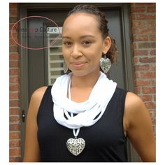 "Post by VersaLoop Couture Designs and Accessories ""Eternity"" Scarf with Heart Shaped Necklace and Matching Earrings. $25  http://mkt.com/versaloop-couture-designs-and-accessories"