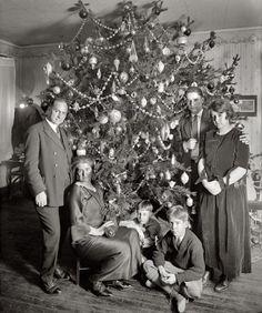 Vintage Christmas Photograph ~ Family gathered by the Christmas Tree, circa 1920's.