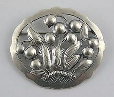 Kalo Arts & Crafts Silver Handmade Lily-of-Valley Pin