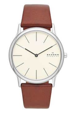 Skagen Round Leather Strap Watch, 39mm available at #Nordstrom