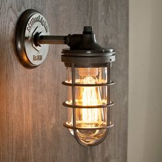 Marine Bulkhead Light, Industrial Cage Sconce, Ship Passageway Light Fixture, Right Angle Wall Light, Craftsman Style Porch Light - Modern Entryway Lighting, Porch Lighting, Sconce Lighting, Industrial Cage Light, Industrial Lighting, Craftsman Style Porch, Outdoor Porch Lights, Steampunk Lamp, Glass Globe