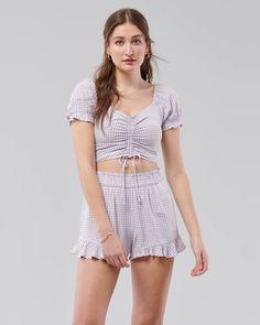 Girls Cinch Puff-Sleeve Crop Top | Girls Matching Sets | HollisterCo.com Girls Vacation, Hollister, Rompers, Top Girls, Crop Tops, Sleeves, Dresses, Fashion, Vestidos