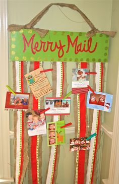 Christmas Card Holder by Two Chics. LOVE it! I'm making this!!    **Used a $1 sign from Dollar tree and pretty ribbon. Looks great & will look better covered in cards! (total cost - $3)