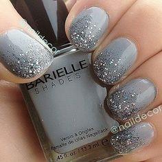 Dark Gray & Glitter Gradient Nails.