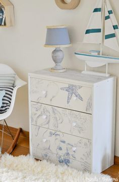 DIY Ikea Rast Hack nightstand / dresser with a beautiful coastal style decor finish. This is an easy and unique idea.