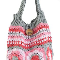 Colorful flower and striped crochet shoulder bag by TeresaNogueira