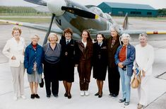 """A nice day out for six elderly ladies... but why the Spitfire? Some of the few surviving pilots of the Air Transport Auxiliary, finally honored in 2008 for their service. The ATA delivered more than 300,000 aircraft of 130 different types from factories and repair yards to frontline airfields. By 1945, it had 650 pilots, of whom 164 were women. In a """"non-combat"""" role, but flying under very difficult conditions, 173 pilots and eight flight engineers were killed in service."""