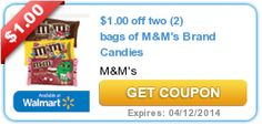 Putting savings away for vacation.  $1.00 off two (2) bags of M&M's Brand Candies