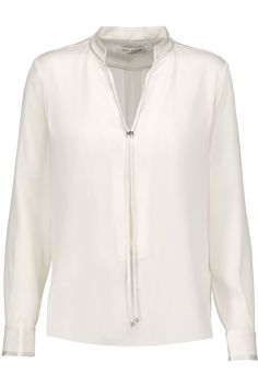 HALSTON HERITAGE Satin-trimmed silk-blend blouse. #halstonheritage #cloth #blouse