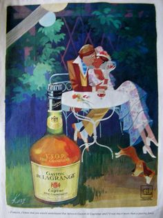 Original Advertisement, Gaston de Lagrange Cognac, Man, woman and dog, alcohol advert Gaston, Vintage Paper, Golden Age, Ephemera, 1970s, Advertising, Alcohol, Packaging, Branding