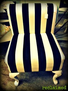 Striped Vanity Chair. Like the stripes to add texture to the bedroom, different colors. Gold? Brown? Mint?