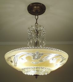 God, how I hated the ones in my house growing up. Lampe Art Deco, Art Deco Chandelier, Antique Chandelier, Art Deco Lighting, Antique Lamps, Antique Lighting, Vintage Lamps, Chandelier Lighting, Vintage Decor